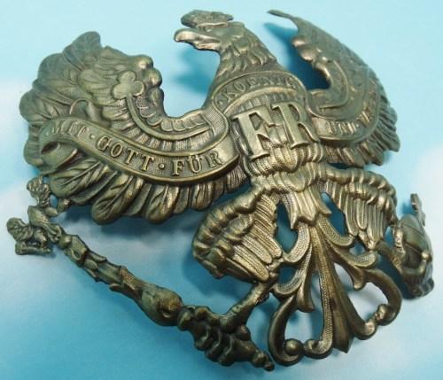WAPPEN - PRUSSIA - FOR PICKELHAUBE - ENLISTED MAN/NCO - INFANTERIE/ARTILLERIE REGIMENT - PREWAR - Imperial German Military Antiques Sale