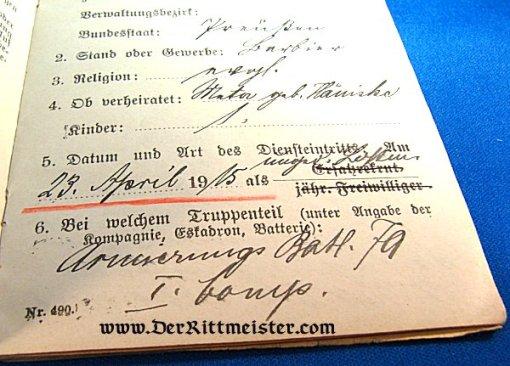 MILITÄRPAß - ADOLF ZIESENHENNE - Imperial German Military Antiques Sale