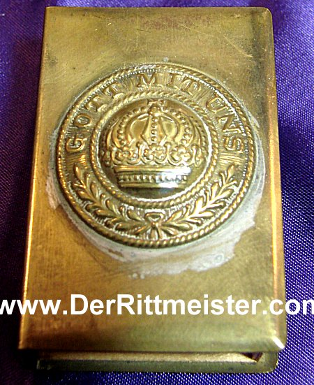 PRUSSIAN ENLISTED MAN'S BRASS BELT BUCKLE - MATCH SAFE - Imperial German Military Antiques Sale