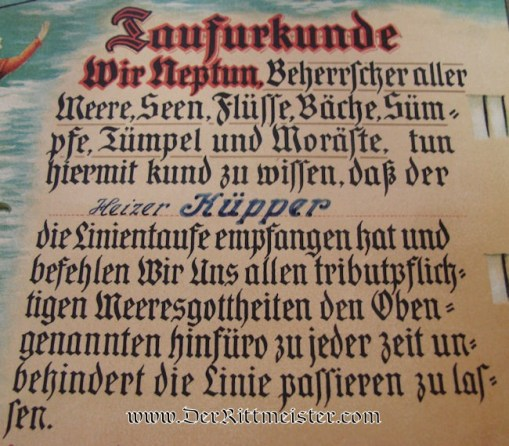 COLOR DOCUMENT - ONBOARD CRUISER EMDEN CROSSING EQUATOR - Imperial German Military Antiques Sale