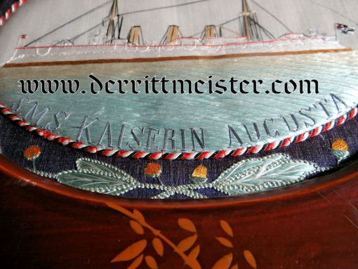 CHINA COLONIAL - FRAMED PRESENTATION - S.M.S. KAISERIN AUGUSTA SAILOR'S - Imperial German Military Antiques Sale