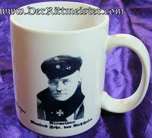 COFFEE CUP FEATURING BARON MANFRED von RICHTHOFEN - Imperial German Military Antiques Sale