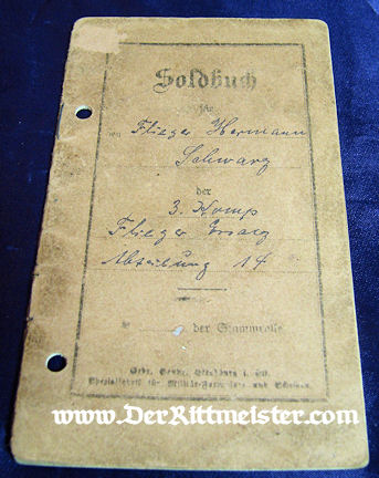 SOLDBUCH - AVIATION SOLDIER - Imperial German Military Antiques Sale