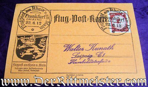 PRE WW I AIRMAIL FLOWN POSTCARD - Imperial German Military Antiques Sale