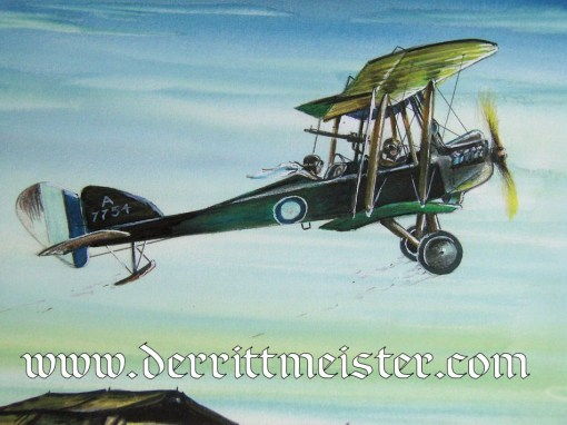 JACK D. HUNTER - ORIGINAL PAINTING - FEATURING BRITISH BE 2c (IDENTIFIED AS A BE 12) TAKING OFF FROM AIRFIELD - Imperial German Military Antiques Sale