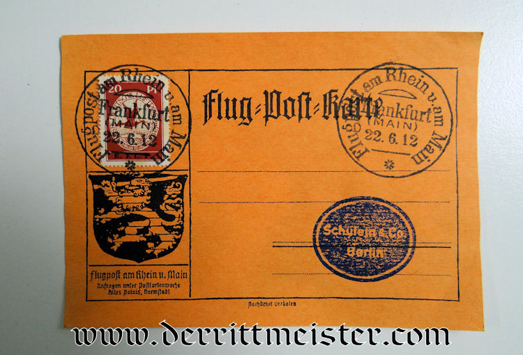 FLOWN PRE WW I AIRMAIL POSTCARD - Der Rittmeister Militaria LLC