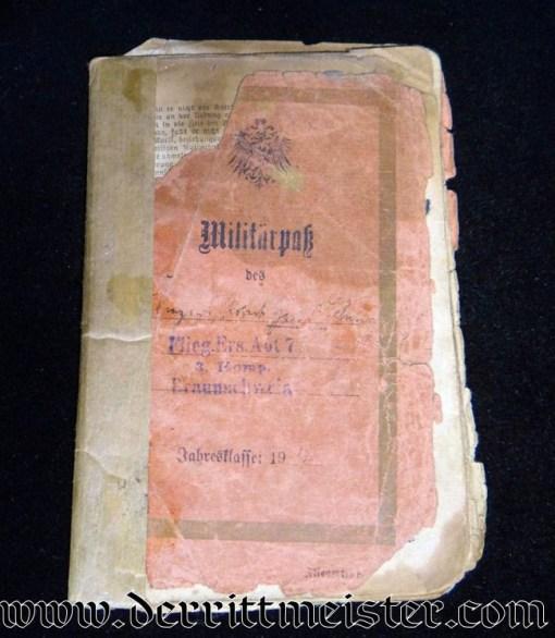 FLIEGER ERSATZ ABTEILUNG Nr 7 MILITÄRPAß - Imperial German Military Antiques Sale