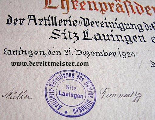 BAVARIAN PRINZ ALFONS' CASED URKUNDE - HONORARY PRESIDENT - ARTILLERY VETERANS' ASSOCIATION - DILLINGEN - Imperial German Military Antiques Sale