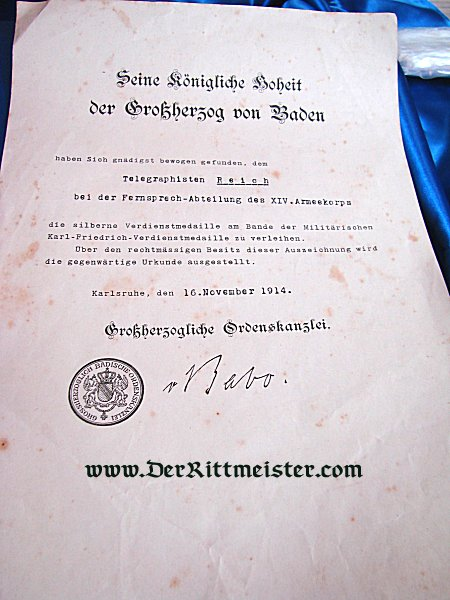 BADEN - AWARD DOCUMENT - SILVER SERVICE MEDAL OF THE MILITARY KARL-FRIEDRICH SERVICE MEDAL - Imperial German Military Antiques Sale