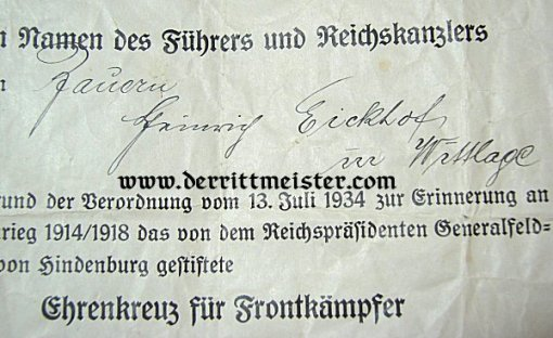 AWARD DOCUMENT - HINDENBURG CROSS FOR COMBATANTS - Imperial German Military Antiques Sale