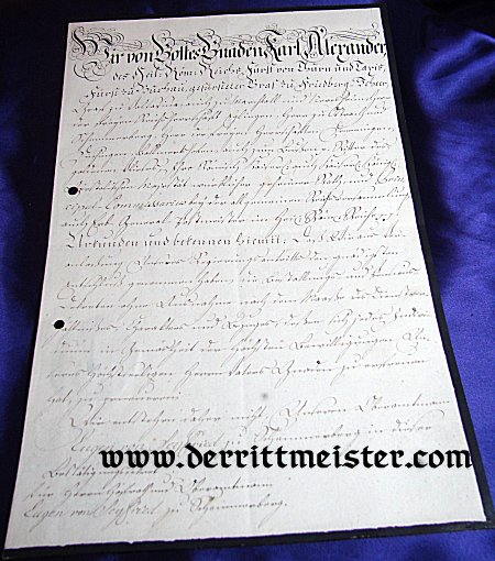 AWARD DOCUMENT - PRINZ KARL ALEXANDER - THURN UND TAXIS - Imperial German Military Antiques Sale