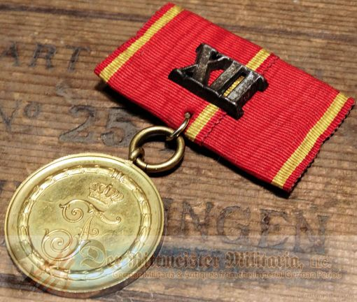 MEDAL BAR - ONE PLACE - BADEN - TWELVE-YEAR LONG-SERVICE MEDAL BAR - Imperial German Military Antiques Sale