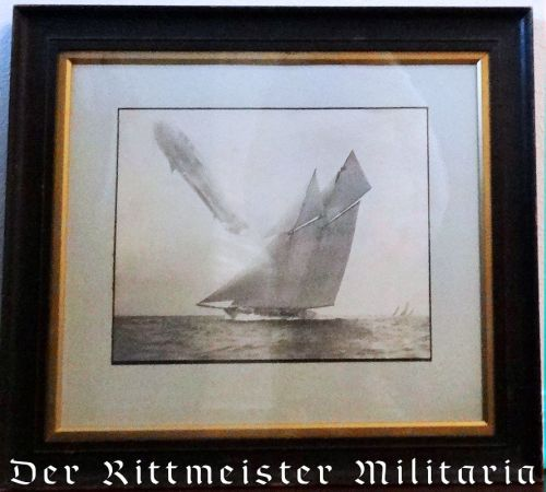 GERMANY - PHOTOGRAPH - ZEPPELINSAILING OVER (ALLEGED) KAISER WILHELM II'S RACING SLOOP S. M. Y. METEOR. - Imperial German Military Antiques Sale