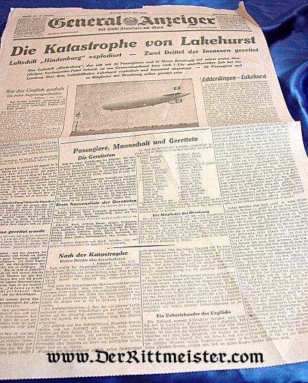 ORIGINAL 1937 FRONT PAGE - ZEPPELIN HINDENBURG CRASH - Imperial German Military Antiques Sale