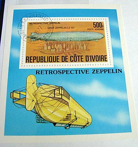 LARGE FORMAT POSTAGE STAMP - GRAF ZEPPELIN - REPUBLIC DE COTE D'IVOIRE - Imperial German Military Antiques Sale