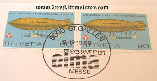 PAIR POSTAGE STAMPS - EARLY AIRSHIP - SWITZERLAND - Imperial German Military Antiques Sale