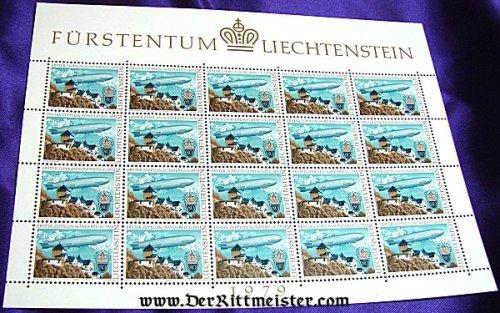 BLOCK TWENTY POSTAGE STAMPS - GRAF ZEPPELIN - 1931 FLIGHT - LIECHTENSTEIN - Imperial German Military Antiques Sale