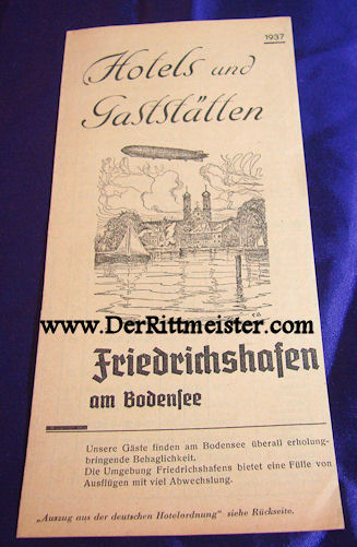 1937 HOTEL LISTING - FRIEDRICHSHAFEN - Imperial German Military Antiques Sale