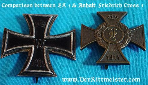 1914 FRIEDRICH CROSS 1st CLASS - ANHALT - Imperial German Military Antiques Sale