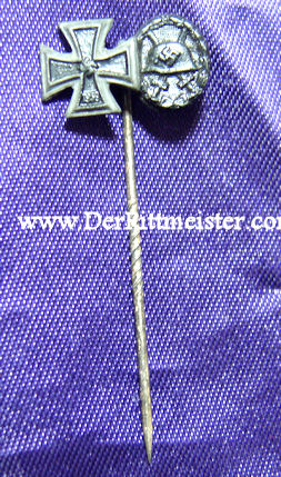 STICKPIN - 1939 IRON CROSS 2nd CLASS - BLACK ARMY WOUND BADGE - Imperial German Military Antiques Sale