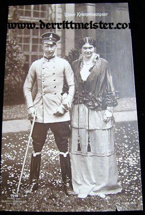 POSTCARD - CROWN PRINCE WILHELM - CROWN PRINCESS CECILIE - Imperial German Military Antiques Sale