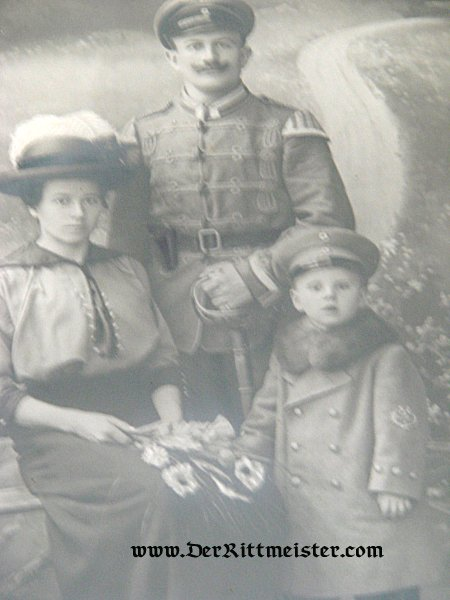 FRAMED PHOTOGRAPH - NCO HUSSAR (IN A FELDGRAU UNIFORM) AND FAMILY - Imperial German Military Antiques Sale