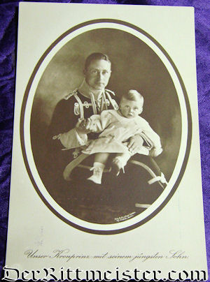 POSTCARD - CROWN PRINCE WILHELM AND SON - Imperial German Military Antiques Sale