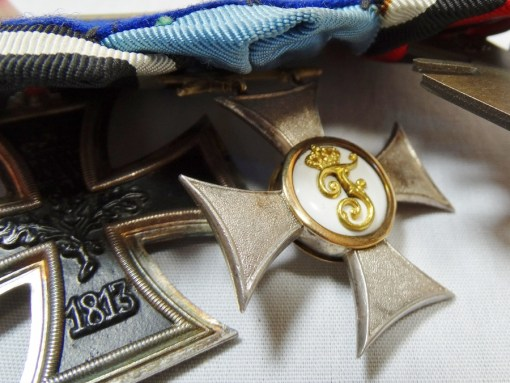 FRACK BAR - THREE PLACE - HIGHLIGHTED BY WÜRTTEMBERG KNIGHT'S CROSS 2nd CLASS WITH SWORDS - Imperial German Military Antiques Sale