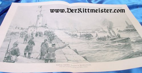 BLACK & WHITE LITHOGRAPH - TROOPS LANDING IN FRANCE - Imperial German Military Antiques Sale