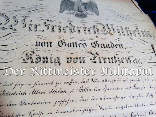 PRUSSIAN OFFICER'S PROMOTION PATENT WITH KÖNIG FRIEDRICH WILHELM IV'S SIGNATURE - Imperial German Military Antiques Sale