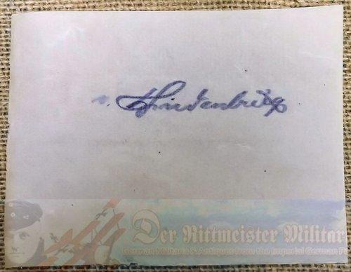 GENERALFELDMARSCHALL PAUL von HINDENBURG'S CLIPPED SIGNATURE - Imperial German Military Antiques Sale
