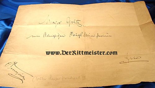 KAISER FRIEDRICH III (1831-1888)- SIGNATURE - PRUSSIA - Imperial German Military Antiques Sale
