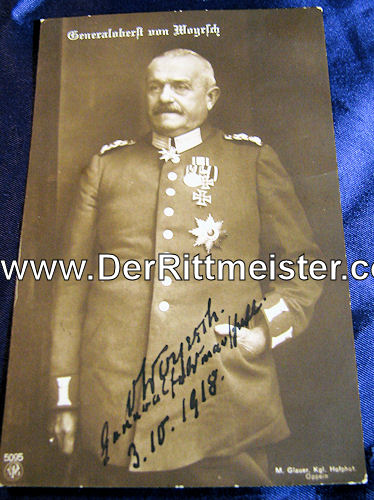 AUTOGRAPHED POSTCARD - GENERALOBERST von WOYRSCH - Imperial German Military Antiques Sale