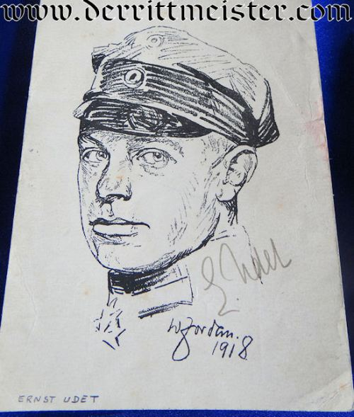 OVERSIZED AUTOGRAPHED WW I ACE AND WW II LUFTWAFFE GENERAL ERNST UDET POSTCARD - Imperial German Military Antiques Sale
