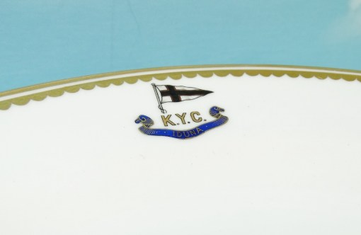 SALAD/DESSERT PLATE FROM KAISER WILHELM II'S RACING SLOOP S. M. Y. IDUNA WITH KAISERLICHER YACHT CLUB (KYC) - Imperial German Military Antiques Sale