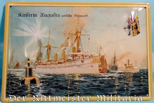 METAL WALL PLAQUE DEPICTING HEAVY CRUISER KAISERIN AUGUSTA'S 1893 GOODWILL VISIT TO NEW YORK - Imperial German Military Antiques Sale