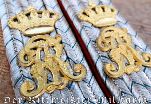 SAXONY - SHOULDER BOARDS - LEUTNANT  - SERVING AS SAXON KÖNIG'S FLÜGELADJUTANT - Imperial German Military Antiques Sale