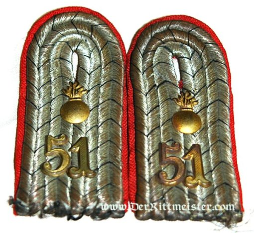 PRUSSIA - SHOULDER BOARDS - LEUTNANT - ARTILLERIE-REGIMENT Nr 51 - Imperial German Military Antiques Sale