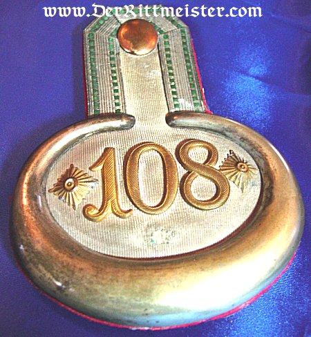 PAIR OF EPAULETTES FOR A HAUPTMANN - SCHÜTZEN-REGIMENT Nr 108 - SAXONY - Imperial German Military Antiques Sale
