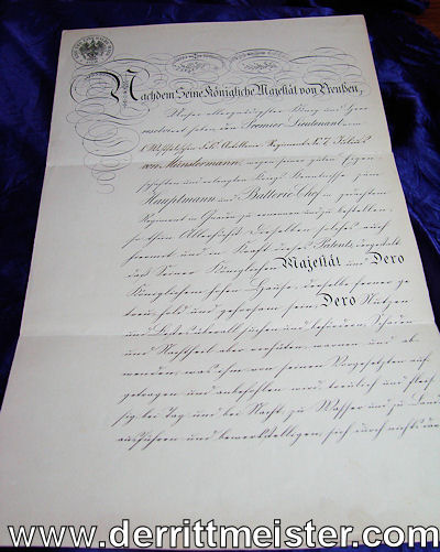 OFFICER'S PROMOTION PATENT - LIEUTENANT TO HAUPTMANN - SIGNED BY KAISER WILHELM I - Imperial German Military Antiques Sale