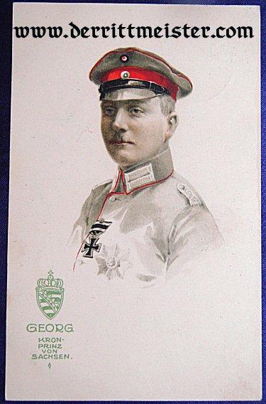 COLOR POSTCARD - KRONPRINZ GEORG - SAXONY - Imperial German Military Antiques Sale