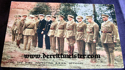 COLOR POSTCARD - KING GEORGE V - OFFICERS - RNAS - Imperial German Military Antiques Sale