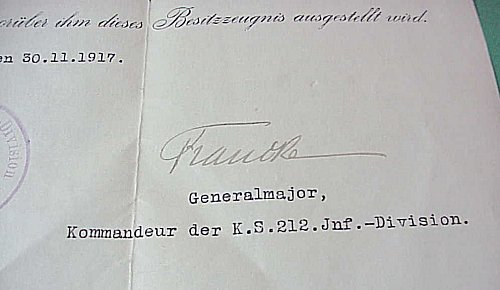 SAXONY - DOCUMENT FOR THE FRIEDRICH-AUGUST MEDAL IN BRONZE - Imperial German Military Antiques Sale