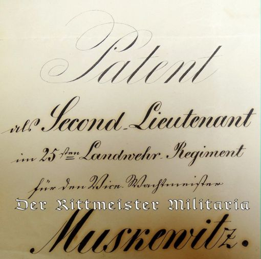 PROMOTION PATENT FOR SECOND LIEUTENANT PREPARED FOR PRUSSIA'S PRINZ REGENT WILHELM I - Imperial German Military Antiques Sale