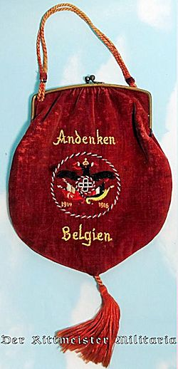 BELGIUM - LADIES' PATRIOTIC PURSE COMMEMORATING SERVICE - Imperial German Military Antiques Sale