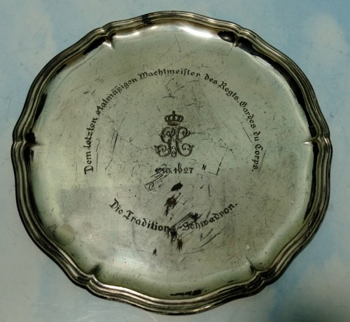 COMMEMORATIVE SILVER PLATE - POST WW I  FOR  NCO - REGIMENT der GARDES du CORPS - Imperial German Military Antiques Sale