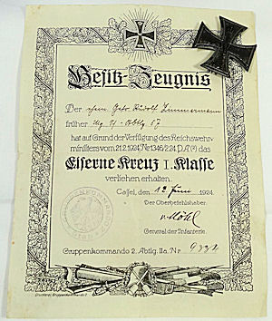 POST WW I IRON CROSS 1st CLASS DOCUMENT AND DECORATION - Imperial German Military Antiques Sale