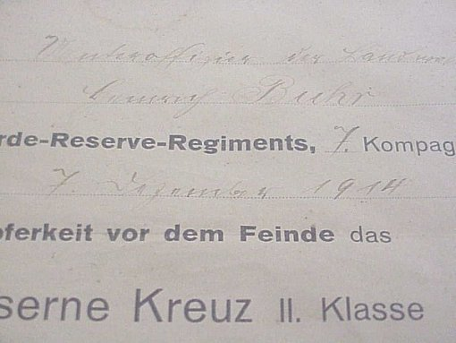 1914 IRON CROSS 2nd CLASS DOCUMENT IN A FRAME - Imperial German Military Antiques Sale