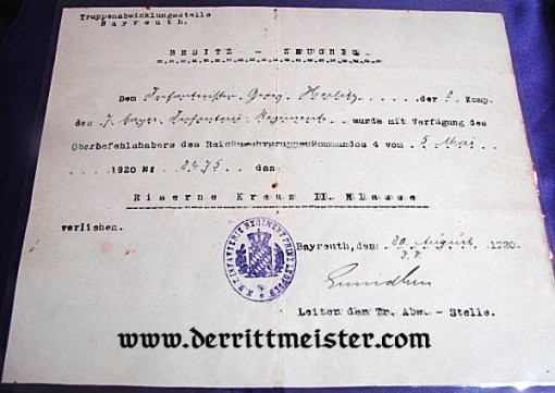 1914 IRON CROSS 2nd CLASS AND AWARD DOCUMENT - Imperial German Military Antiques Sale