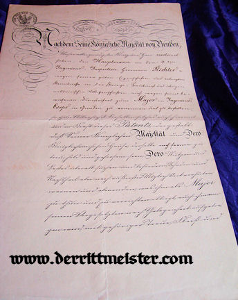 ENGINEERING OFFICER PROMOTION PATENT - KÖNIG WILHELM I SIGNATURE - 1870-1871 FRANCO-PRUSSIAN WAR - Imperial German Military Antiques Sale